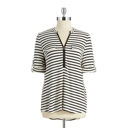 Striped Zip-Neck Top