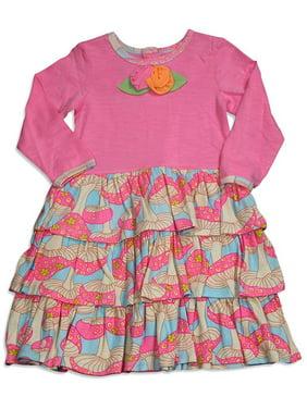 Baby Lulu - Baby Girls Long Sleeve Ava Mushroom Dress MULTICOLOURED / 18 Months