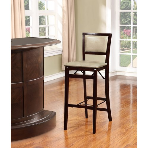 Linon Triena Pad Back Folding Bar Stool Espresso 30 Inch