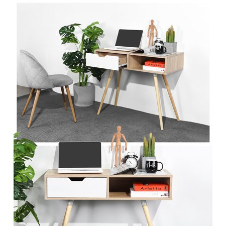 Ulton Brown Office Desk - Light Wood and 1 White Drawer - image 3 of 9