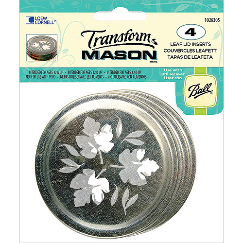 Ball Transform Mason Lid Insert Regular Leaf 4pc