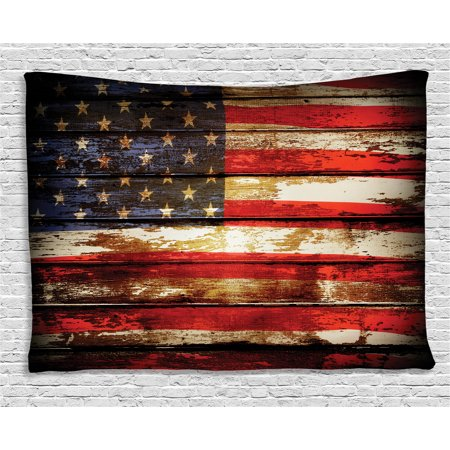 American Flag Decor Tapestry, Us Symbolism over Old Rusty Tones Weathered Vintage Social Plank Artwork, Wall Hanging for Bedroom Living Room Dorm Decor, 60W X 40L Inches, Multi, by Ambesonne