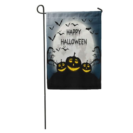 KDAGR Text of Happy Halloween Autumn Bat Black Cartoon Celebration Disco Garden Flag Decorative Flag House Banner 12x18 inch