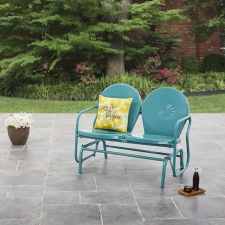 Retro Metal Double Glider - Mainstays Retro Outdoor Glider Bench Buy w/ Cushion and Pillows and Save