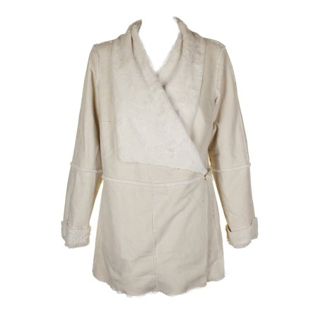 Inc International Concepts Washed White Faux Suede Draped Jacket L