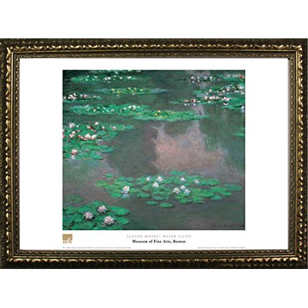 Famous Flower - buyartforless FRAMED Water Lilies by Claude Monet 20x28 Art Print Poster Famous Painting Pond Still Life Water Flower Plant From Museum of Fine Arts Boston Collection