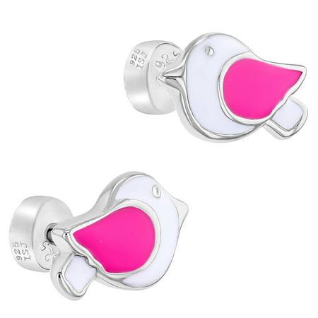 Argent 925 blanc rose en émail Dove oiseaux sécurité Retour Boucles d'oreilles filles - image 1 de 5