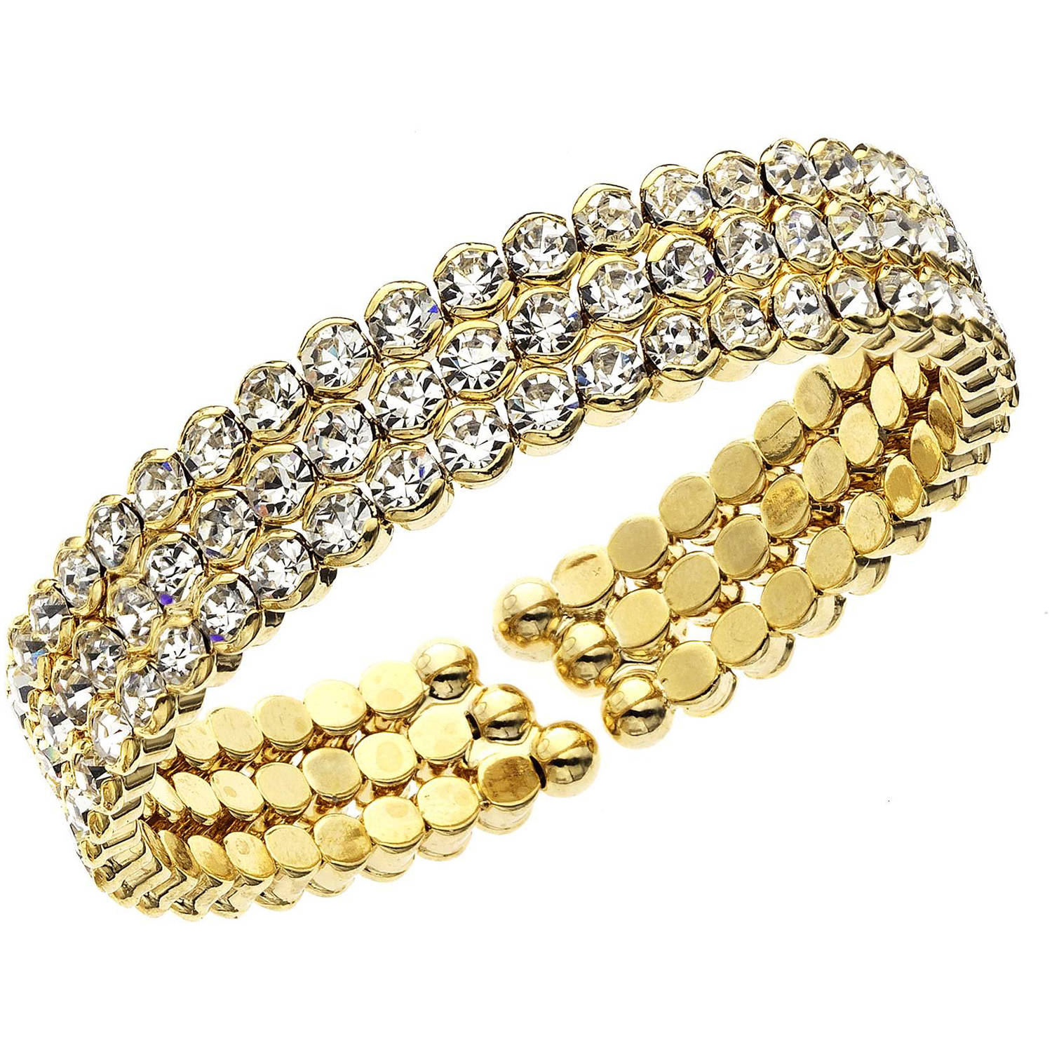 X & O 14kt Gold-Plated Three-Row Honeycomb Cuff Bracelet, One Size