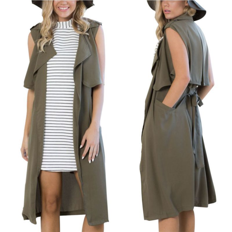 Women New Sleeveless Long Windbreaker Coat Jacket Trench Outwear Parka Waistcoat by