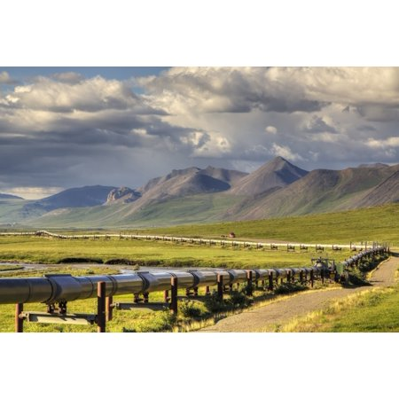 Semi Truck Driving The Haul Road  James Dalton Highway  Along The Trans Alaska Oil Pipeline On The North Side Of Atigun Pass In The Brooks Range Arctic Alaska Summer Canvas Art   Lucas Payne  Design P