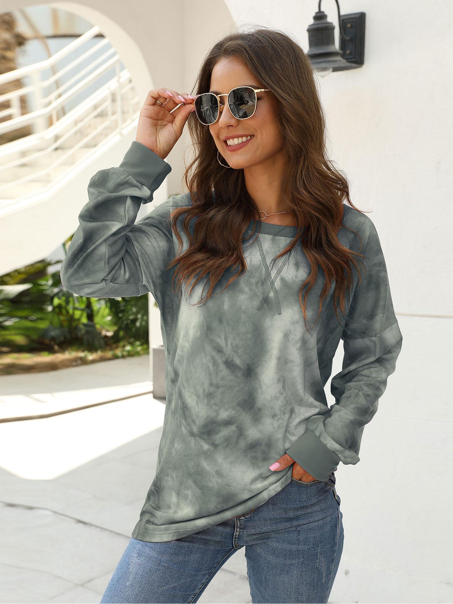 Womens Casual Color Block Tie Dye Crewneck Faith Over Fear Long Sleeve Loose Pullover Sweatshirt Tops