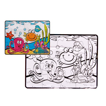 Sea Animals Floor Puzzle (Creative Kids Jigsaw Puzzle Set Sea Animals Coloring Painting Floor Puzzle Intelligence Color Improving Jigsaw Puzzle Children Toys)