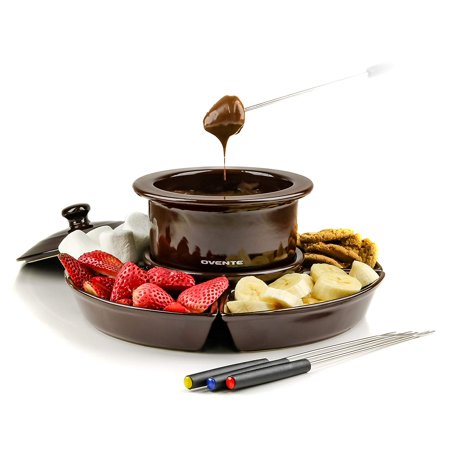 Ovente 1 Liter Electric Chocolate or Cheese Fondue Melting Pot and Warmer Set, Ceramic Party Serving Tray, Includes 4 Dipping Forks, Brown (CFC317BR) (Party Warmers)