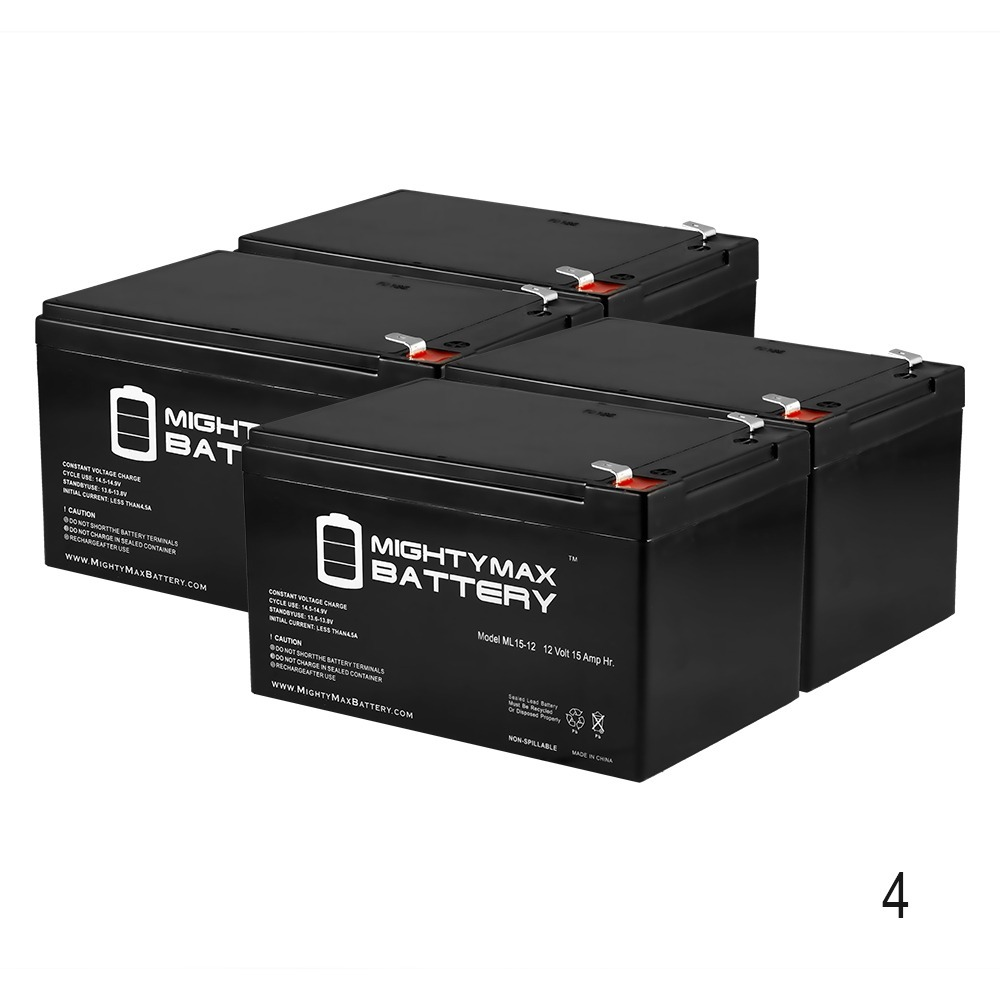 12V 15AH F2 Battery Replacement for Currie Phat Phantom - 4 Pack