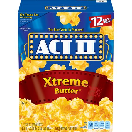 - (4 Pack) ACT II Microwave Popcorn, Xtreme Butter, 2.75 Oz, 12 Ct