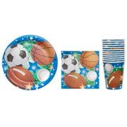 sports themed party supply pack - plates, napkins and cups - baseball, football, soccer, basketball ~ serves 12 guests by greenbrier international