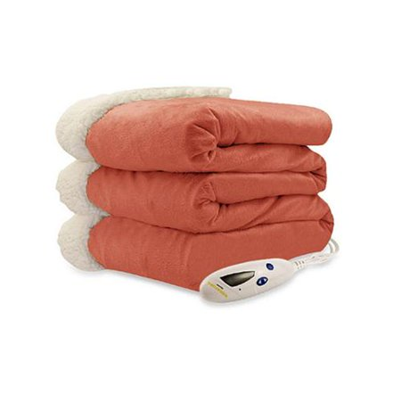 Green Sherpa - Biddeford Luxuriously Soft Electric Heated Micro Mink and Sherpa Throw Blanket, Red