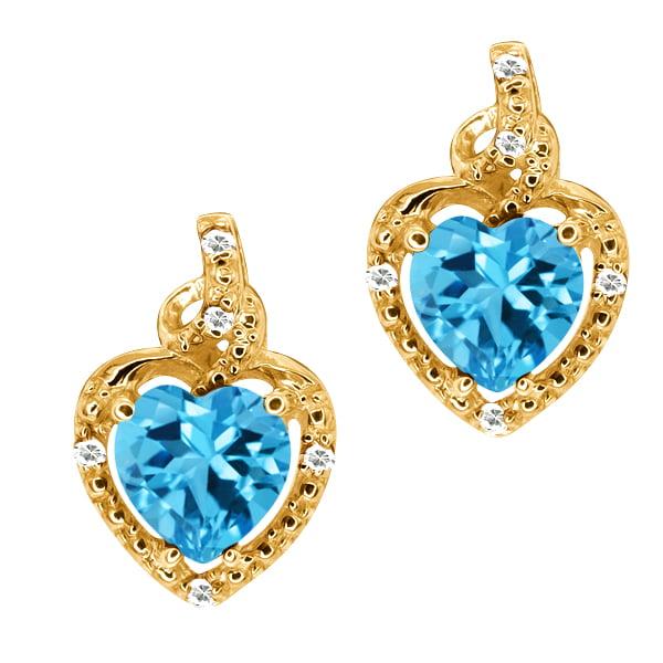2.06 Ct Heart Shape Swiss Blue Topaz White Topaz 14K Yellow Gold Earrings by