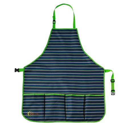 oGrow High Quality 'Large' Gardener?? Tool Apron With Adjustable Neck And Waist Belts - Blue/White Striped - Large - image 2 of 2