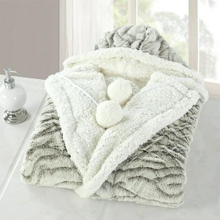 Snuggle Bear Blanket - Chic Home Nadine Snuggle Hoodie Animal Print Robe Ultra Plush Micromink Wearable Blanket