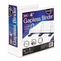 """Find It Gapless Loop Ring Binder, 11 x 8-1/2, 4"""" Capacity, White"""