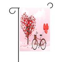 POPCreation Romantic Valentine's Day Love Heart Tree Garden Flag Bicycle Outdoor Flag Home Party 28x40 inches