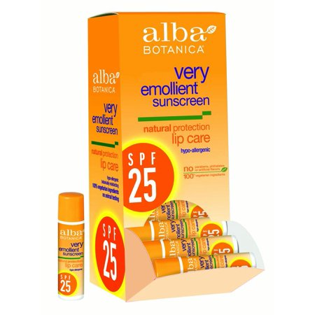 Alba Botanica Very Emollient Sunscreen Lip Care Hypoallergenic Spf 25  0 015 Oz