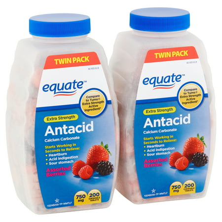 Equate Extra Strength Antacid Assorted Berries Chewable Tablets, 750 mg, 200 Count, 2 Pack ()