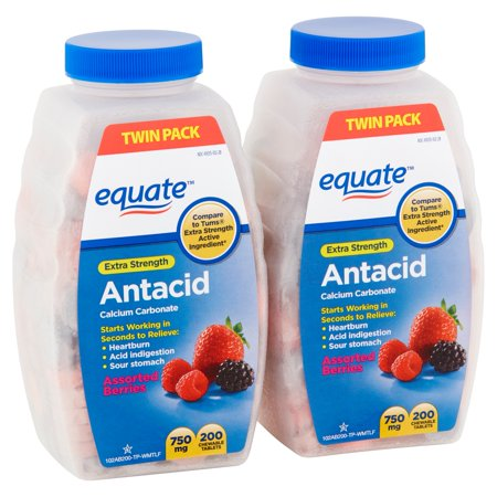 Equate Extra Strength Antacid Assorted Berries Chewable Tablets, 750 mg, 200 Count, 2 (Antacid Tablets Tropical Punch)