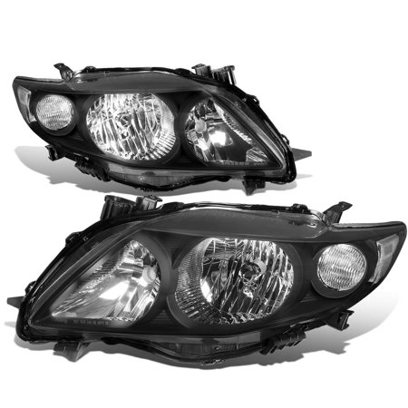 For 2009 to 2010 toyota Corolla 10th Gen Pair Black Housing Clear Corner Headlight Headlamps Left+Right ()