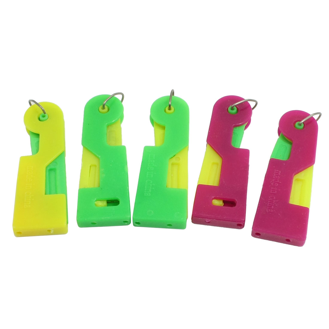 Fuchsia Green Yellow Plastic Housing Sewing Needle Threader 5 in 1