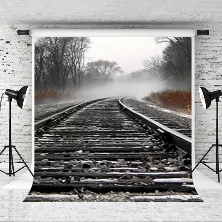 Background Tracks (HelloDecor Polyster 5x7ft Train Track Photography Backdrop Photo Studio Background)