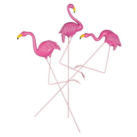 - Flamingo Planter Stakes, Set of 3 by Maple Lane Creations