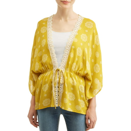 Libery Love Juniors Pattern Crochet Detail Tie Waist Kimono