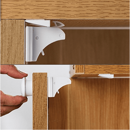 Cupboard Locks for Baby Safety - Cabinet Locks - Child Proof Cupboard Latch  - Magnetic Toodler Proofing Safe Drawer Lock - No Drilling - Invisible ...