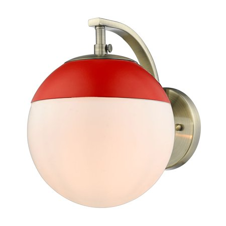 Dixon Sconce in Aged Brass with Opal Glass and Red