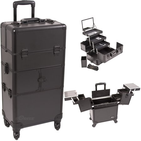 Black Smooth Pattern 3-Tiers Accordion Trays 4-Wheels Professional Rolling Aluminum Cosmetic Makeup Case and 3-Tiers Extendable Trays with Mirror and Brush Holder - I3564