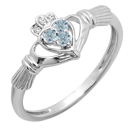 10k White Gold White Diamond And Aquamarine Bridal Promise Irish Love & Friendship Heart Shape Ring