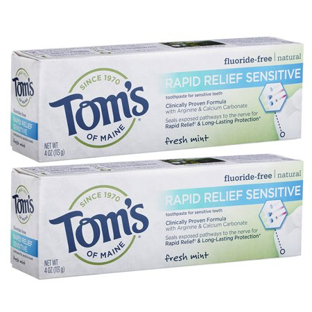 Toms of Maine Rapid Relief Sensitive Natural Toothpaste, Fresh Mint, 2 Pack