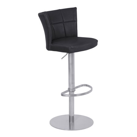 Black Finish Stool (Armen Living Encore Adjustable Metal Barstool in Vintage Black Faux Leather with Brushed Stainless Steel Finish )