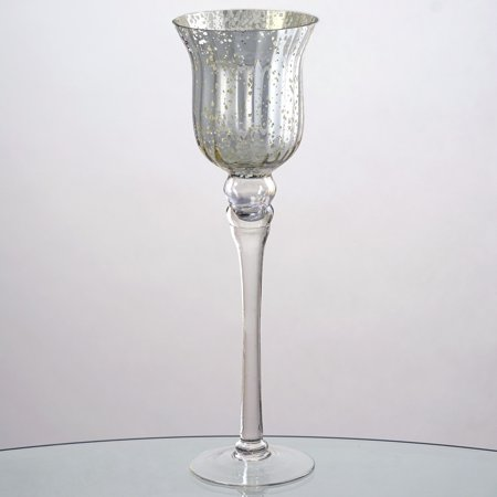 Balsacircle 4 Pcs 15 Tall Silvered Glass Candle Holders Vases For