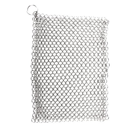 Cast Iron Cleaner, Stainless Steel Chainmail Scrubber 6 x 8 Inch Cookware Cleaner for Skillet, Pan, Pot, Wok, Griddle, Waffle Iron, Pans Scraper, Skillet Scraper, Frying Pan, Oven and
