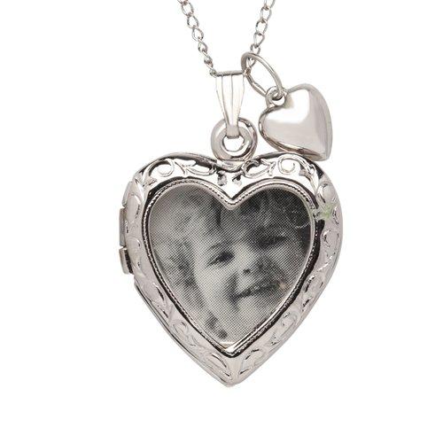 "Sterling Silver Photo Heart Locket Pendant, 18"""