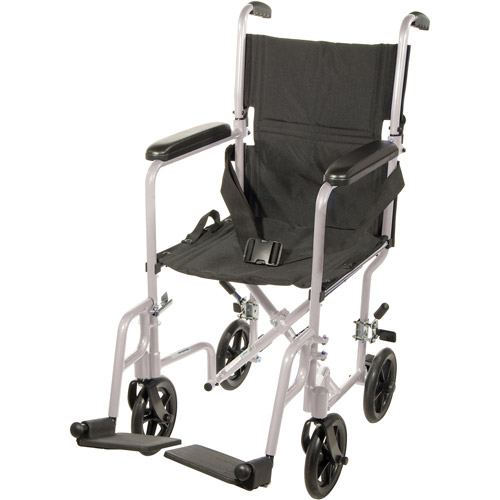 "Drive Medical Lightweight Transport Wheelchair, 19"" Seat, Silver"