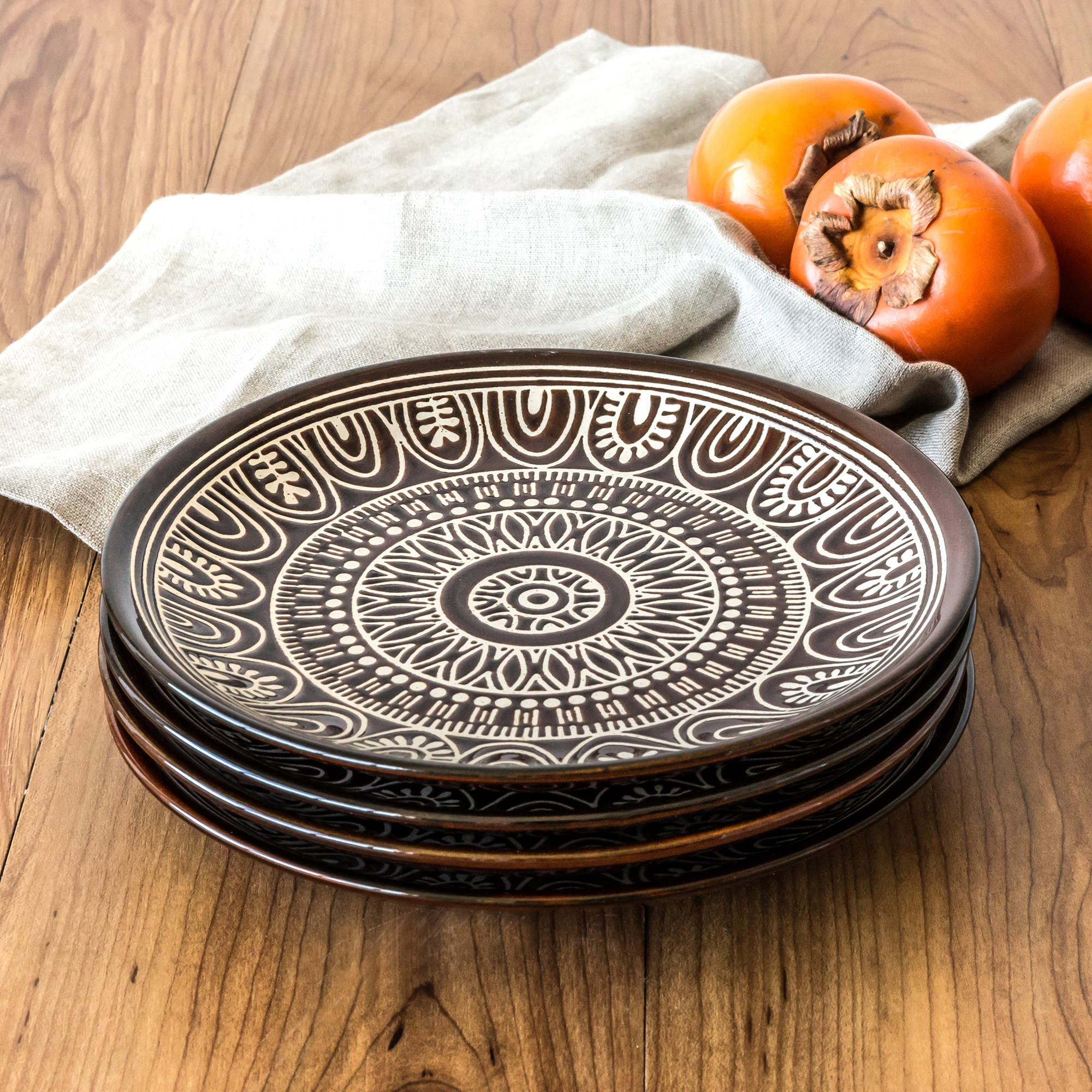 Better Homes & Gardens Brown Medallion Salad Plates, Set of 4