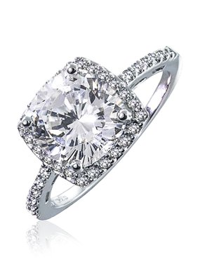 00acb52572328d Product Image 3 CT Square Cushion Cut AAA CZ Cubic Zirconia Halo Statement  Engagement Ring Thin Pave Band