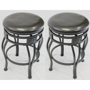 "24"" Swivel Metal Bar Stools with Faux Leather Seat in Espresso -Set of 2"