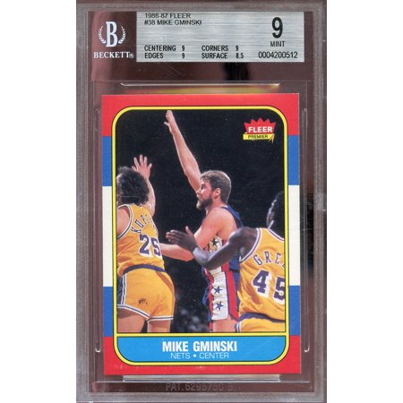 1986 87 Fleer  38 Mike Gminski New Jersey Nets Bgs 9  9 9 9 8 5