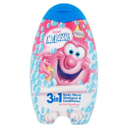 Mr. Bubble Original 3-in-1 Body Wash, Shampoo & Conditioner, 14 Oz