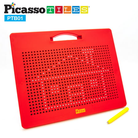 PicassoTiles 748 Bead Drawing Board Writing Tablet Pad Magnetic Erasable Reusable Playset with Stylus Pen Travel Size STEM Toy Open-Ended Learning Kit Child Brain Development Hand-Eye Training PTB01
